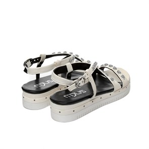 Ayakkabi  752014-101 6001 MJUS LEATHER SANDALS BIANCO