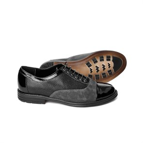 Ayakkabi  MS-413-28 GRY JOHN MAY PATENT LEAHTER BLACK-GREY SUEDE