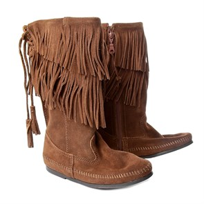 Minnetonka Kadın Bot yt Kauçuk Taban 1688 MINNETONKA CALF HI 2-LAYER FRINGE BOOT Dusty Brown